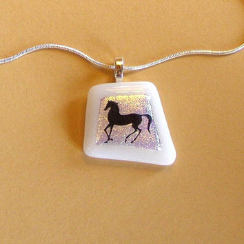 Dichroic Fused Glass Pendant Necklace with Black Horse Decal, White, Light Pink