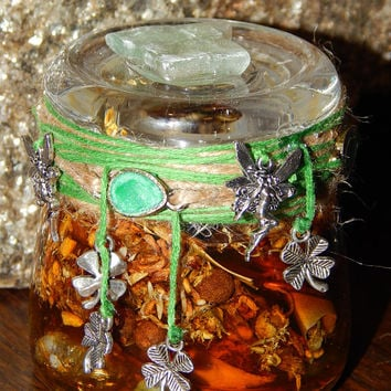 Lucky Shamrocks Fairy Jar - Hoodoo Honey Jar - Folk Art Jar - Altar Decor - Wiccan Altar - Witchcraft - Witch Jar - Witch Bottle - Art Jar