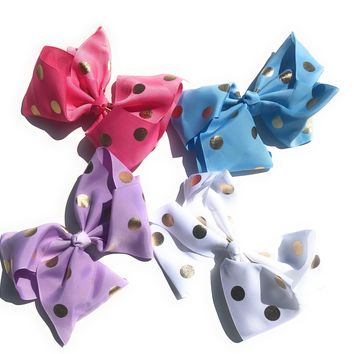"Girls 6.5"" Gross-grain Bow with Gold polka dots"