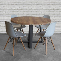 Round wood table in reclaimed wood and steel legs in your choice of color, size and finish