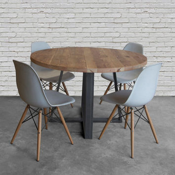 Round Wood Table In Reclaimed Wood And Steel Legs In Your Cho.