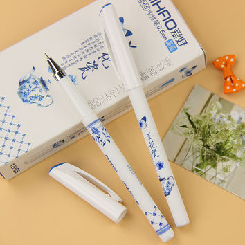 1 Pcs Vintage Retro Chinese Flower Style Pen Orchid Porcelain Gel Pen Creative Gift Office School Supplies
