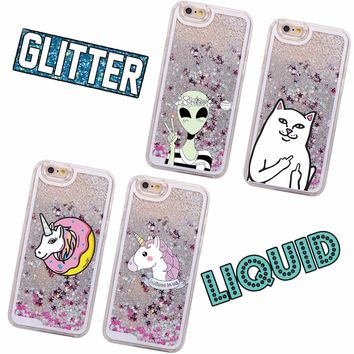 Glitter Liquid Unicorn Donuts Cat Alien Cartoon Hard Case Coque Fundas Capa Para For iPhone 7 7Plus 6 6S 6Plus 5 SE 8 8Plus X