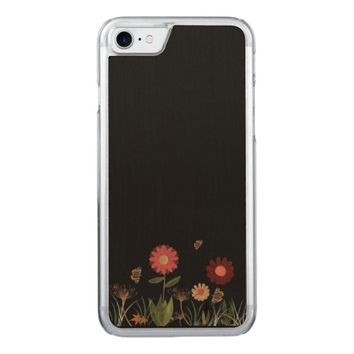 Trendy retro flowers on black carved iPhone 7 case
