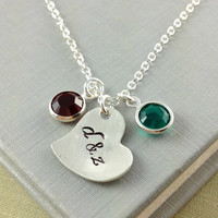 Couple Initial Necklace, Birthstone Initial Jewelry, Anniversary Gift, Christmas Gift, Gift For Wife, Swarovski Birthstone Necklace, Heart