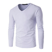 Menswear Solid Color T Shirts Men Camisa Masculina Men's Casual Slim Fit Long Sleeved V Neck T Shirts Hombre SM6