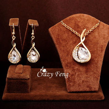 Free shipping Women's18k Gold Plated Emerald/White/Blue Sapphire Austrian Crystal Chain Necklace Earrings Jewelry Sets