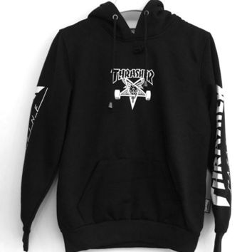 Thrasher Ngau Tau loose autumn and winter velvet hooded sweater hooded long sleeve skateboard youth jacket