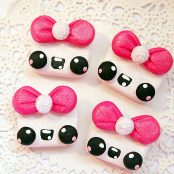 Polymer Clay Flat Back Kawaii Marshmallow for Hair Bows Deco Den DIY Scrapbooking Cards and more - 4pcs