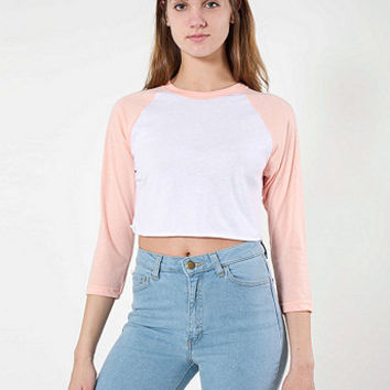 Poly-Cotton Cropped 3/4 Sleeve Raglan