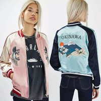 2017 Women  Bomber Jacket Women  Pink Blue Tiger Crane Embroidery Double-sided  Jacket Coat Casual Baseball Jacket Sukajan