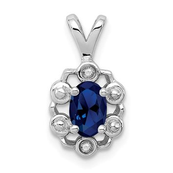 Sterling Silver Simulated Sapphire & Diamond Pendant