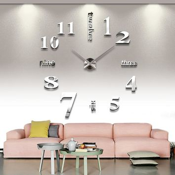 Living Home Decorate DIY Wall Clock Acrylic EVA Metal Mirror Wall Clock Super Sticker Digital Watches Clocks Free
