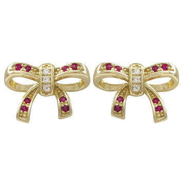 Lab Created Ruby Stones, Gold Plated Sterling Silver Bow Post Earrings