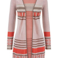 Tunic Cardigan With Side Slits - Multi