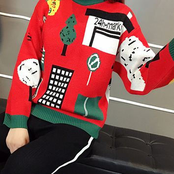Red Long Sleeve Chunky Ugly Sweater