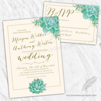 Elegant Succulents Wedding Invitation Set