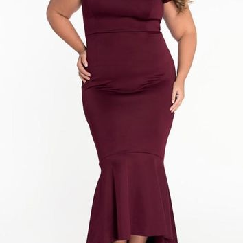 New Burgundy Irregular Bandeau Off Shoulder Backless Mermaid Prom Evening Party Maxi Dress