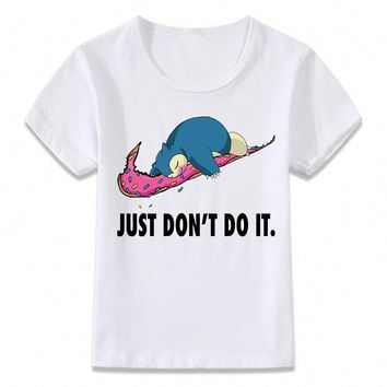 Kids Clothes T Shirt Snorlax Just Don't Do It  T-shirt for Boys and Girls Toddler Shirts TeeKawaii Pokemon go  AT_89_9
