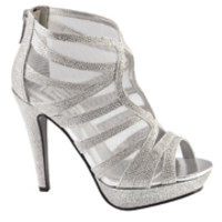 Silver Glitter Caged Blake Booties