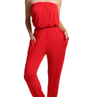 Womens Strapless High Waist Harem Jumpsuit Pants with Stretch