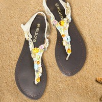 Sandals Gold Flat Thong with Jewel Top - Chynna Dolls