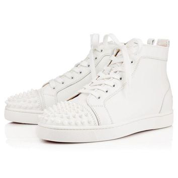 VON3TL Christian Louboutin Lou Spikes Men's Women's Flat White Leather 11510613047