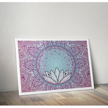 Pink and Teal Blue Mandala Lotus Poster Bohemian Art Print Poster With Henna Lotus Flower Design no frame 20x30 Large