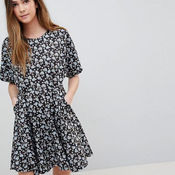 QED London Floral Skater Dress With Cutout Detail at asos.com