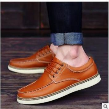 2017 autumn and winter models men's leather casual shoes business casual shoes lace fashion large men's shoes