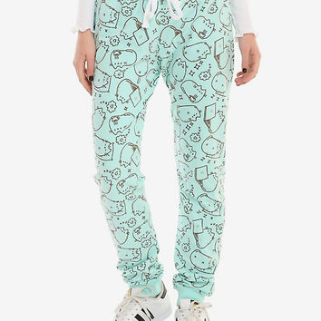 Pusheen Mint Tossed Print Girls Jogger Pants