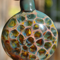Glass Honeycomb Pendant, Green, Boro Blown Glass Jewelry Honey Comb