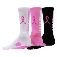 Amazon.com: Red Lion Ribbon Legend Crew Breast Cancer Awareness Socks 3 Pair Pack: Sports & Outdoors