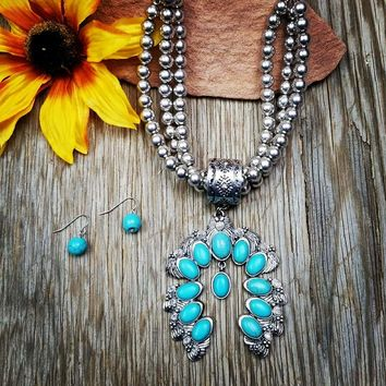 Silver Beaded Turquoise Squash Blossom Necklace