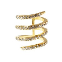 Gold Rhinestone Swirl Cage Ring by Charlotte Russe