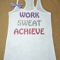 Work. Sweat. Achieve. Glitter Writing. Bow. Tank top. Racerback. Size S-2XL. Burnout. Black. Exercise. Soft. Women. Workout. Fitness.