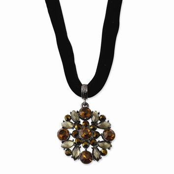 Black-plated Multicolored Glass & Acrylic Beads Necklace
