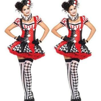 ONETOW Funny Harley Quinn Costume Women Adult Clown Circus Cosplay Carnival Halloween Costumes For Women CO58157166