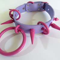 Cutesicle- Genuine Leather Pastel Spiked O Ring Collar