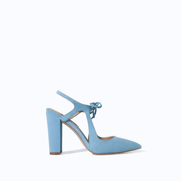 HIGH HEEL LEATHER COURT SHOE WITH BOW