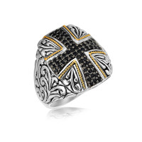 18K Yellow Gold and Sterling Silver Cross Style Ring with Black Sapphires: Size 7