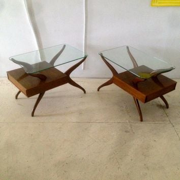 Mid Century Vladimir Kagan Walnut Side Tables
