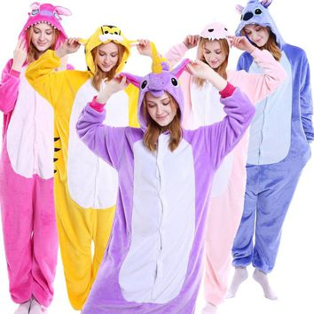 Unisex Adult Pajamas Onesuit Anime Cosplay Costumes Cartoon Animal Sleepwear Stitch Unicorn Pikachu Winter Warm For Women Men