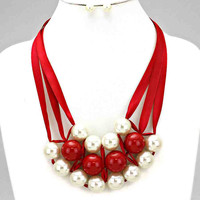 Pearl Satin Statement Necklace Set Red