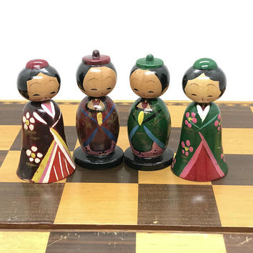 Vintage Japanese Themed Chess Set - Asian Wooden Chessmen - Rare WWII Chess Set - Unique Chess Set