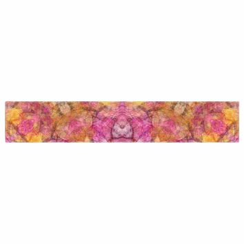 "Justyna Jaszke ""Mandala Pink Joy"" Pink Orange Abstract Pattern Digital Illustration Table Runner"