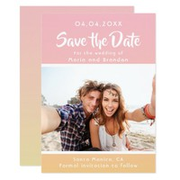 Save the date photo card on rose gold