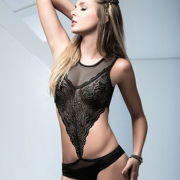 Scalloped Lace And Mesh Bodysuit