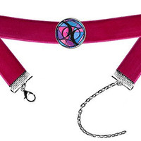 Bisexual Love Hot Pink Velvet Choker Antique Silver