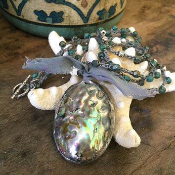 Soldered Abalone Pearl Crochet Necklace, Knotted Turquoise Soul Surfer, Crocheted Jewelry by Two Silver Sisters twosilversisters